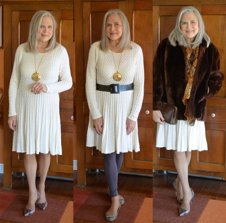 Winter White Sweater Dress & 2nd Loved 1st Friday Linkup