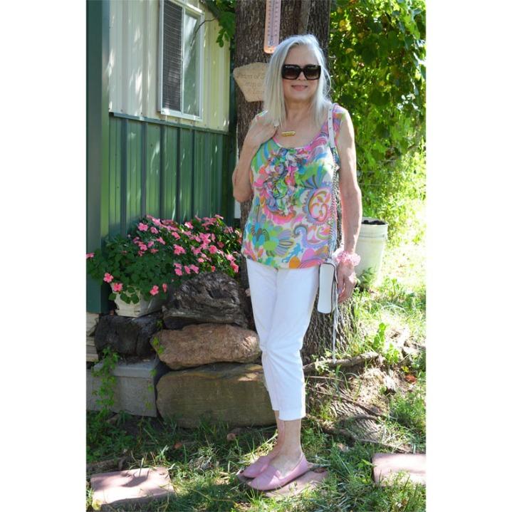 Trina Turk Silk Top: August's Slow Fashion Linkup