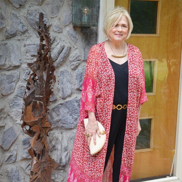 Long Kimono Dressy/Causal-Silver/Gold